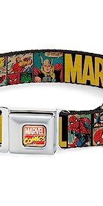 Retro Marvel Comics Spiderman Captain America Thor Ironman Hulk Collar Dog Pet Old Vintage Original