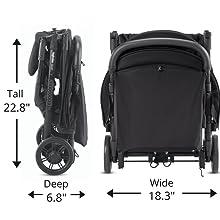 Lightweight travel stroller, compact baby stroller, folding stroller for babies, small stroller
