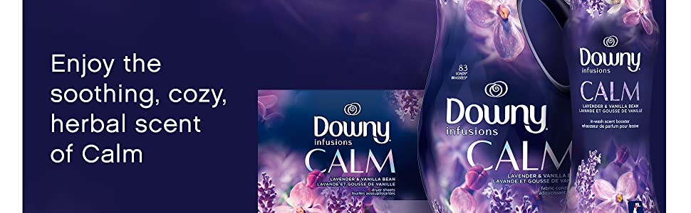 enjoy the soothing, cozy, herbal scent of calm, downy infusions liquid softener, dryer sheets, beads
