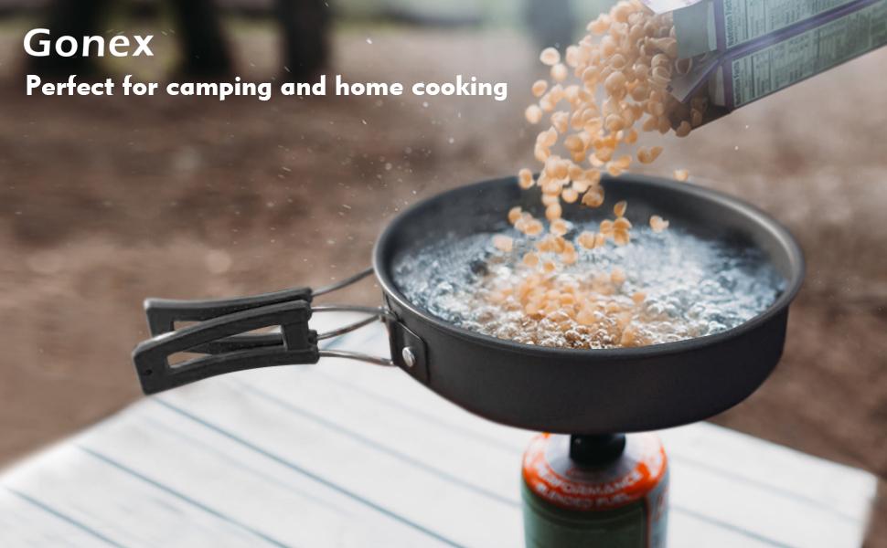 Gonex Ollas Sartén Camping, Utensilios de Cocina Cacerola Cazuela Recipientes de Acero Inoxidable para Cocinar en Exteriores Picnic Acampada ...