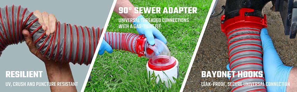 Valterra D04-0450 Viper 15/' Sewer Hose Kit