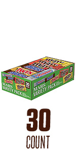 Full size chocolate candy variety box, featuring TWIX, Snickers, M&M'S and 3 Musketeers.