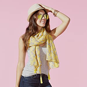 Tickled Pink Pineapple Print Summer Scarf paired with Tickled Pink hat, sunglasses, and bracelets