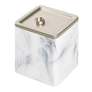 Bathroom dorm college vanity wastecan white black marble resin soap pump vanity tray canister brush