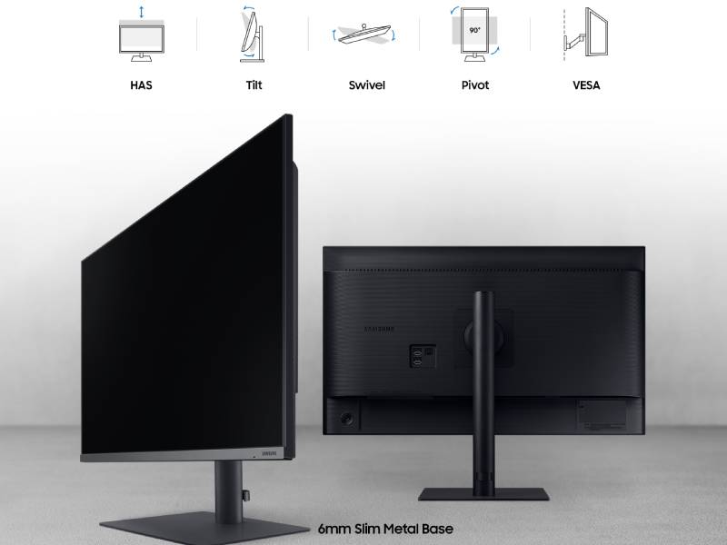 The monitor can Tilt, Swivel, Pivot, is height adjustable and VESA compatible