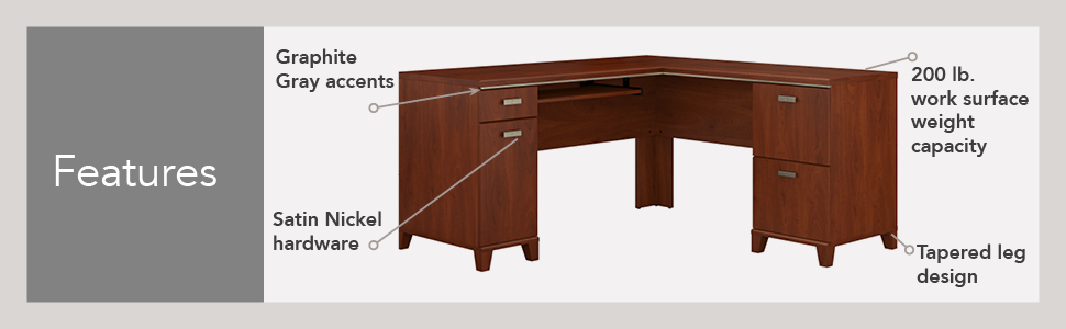 Amazon Com Bush Furniture Tuxedo L Shaped Desk In Hansen Cherry
