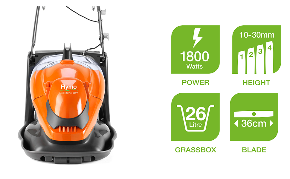 Has a powerful 1800W motor, 4 cutting heights from 10 to 30mm, 36cm cutting width