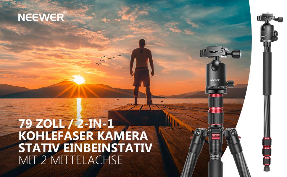 Neewer 79 Zoll Kohlefaser Kamerastativ Einbeinstativ Kamera