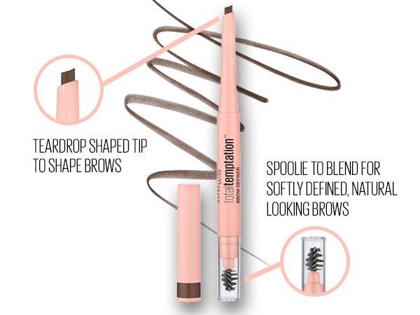 Teardrop shaped tip to shape brows; spoolie to blend for softly defined natural looking brows