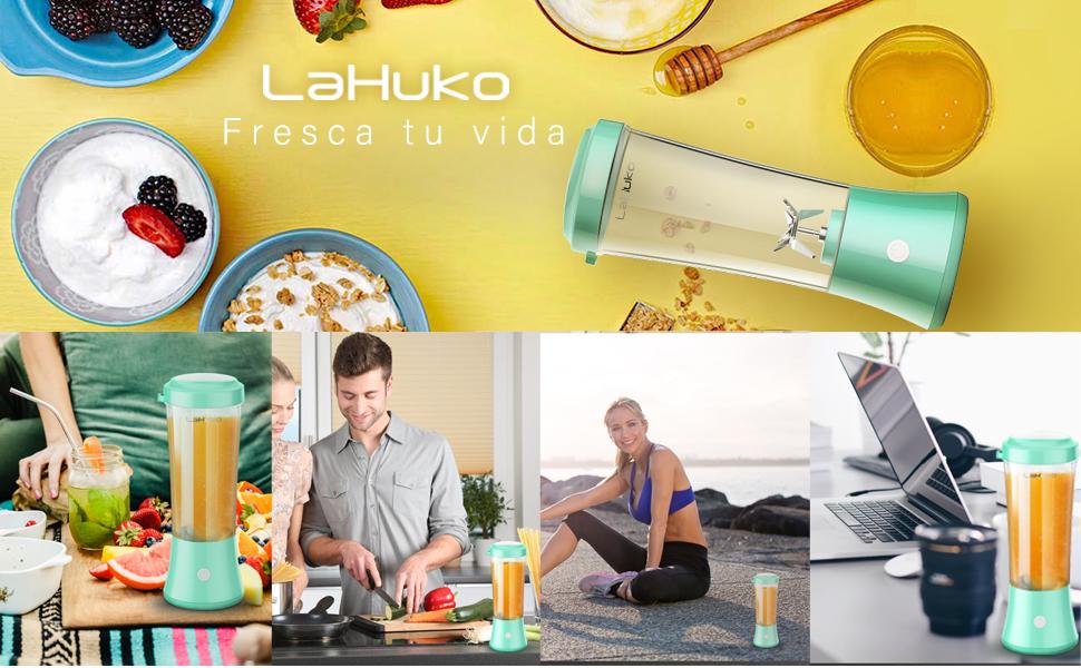 Lahuko Licuadora Portátil USB Recargable, Batidora de Vaso ...