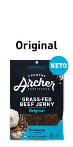 original 100% grass-fed beef jerky, healthy snack, keto, gluten free,