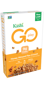 Kashi GO Honey Almond Flax Crunch Cereal is blend ofmultigrain clusters, sliced almonds & flax seeds
