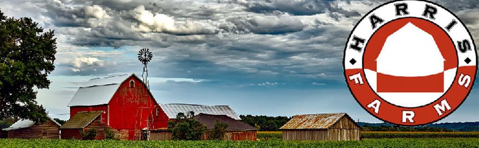harris farms barnyard image with red barn