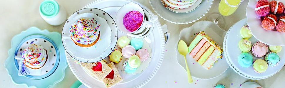 sprinkles, baking, entertaining, desserts, rainbow, cake, unicorn, mermaid, confetti