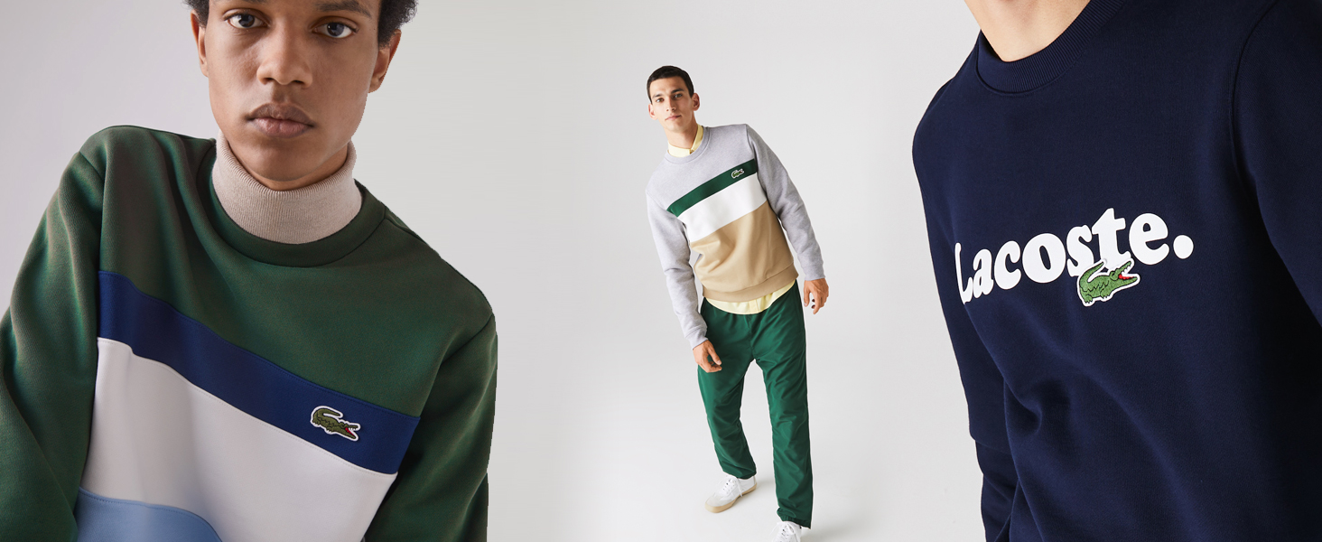 Three men in Lacoste colourblock graphic sweatshirts