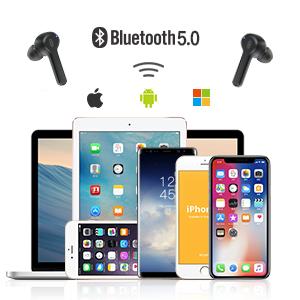 Kabellose Kopfh/örer 35 Stunden Wiedergabe USB-C-Schnellladung f/ür klare Anrufe Bluetooth-Kopfh/örer mit 4 integrierten Mikrofonen IPX5 wasserdicht f/ür Apple AirPods iPhone Android