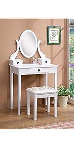 Amazon Com Roundhill Furniture Ashley Wood Make Up Vanity