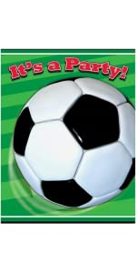 soccer party blowers 8ct soccer party hats 8ct soccer party confetti soccer ball birthday candles 6ct small black white striped popcorn treat - Soccer Party Invitations
