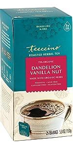 Teeccino Dandelion Vanilla Nut Herbal Tea will let you detox deliciously. Certified gluten free