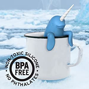 narwhal, unicorn, spike, ice,, tea, tea infuser, tea, loose leaf, mug, fred, silicone, cute, mug