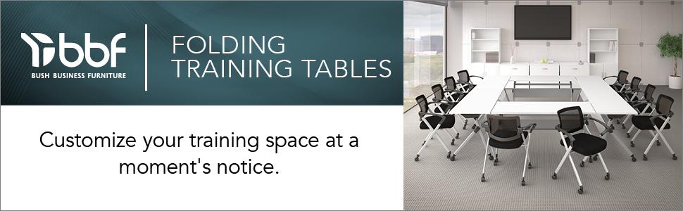bbf,bush business furniture,folding training tables,white,contemporary,bush,bush industries