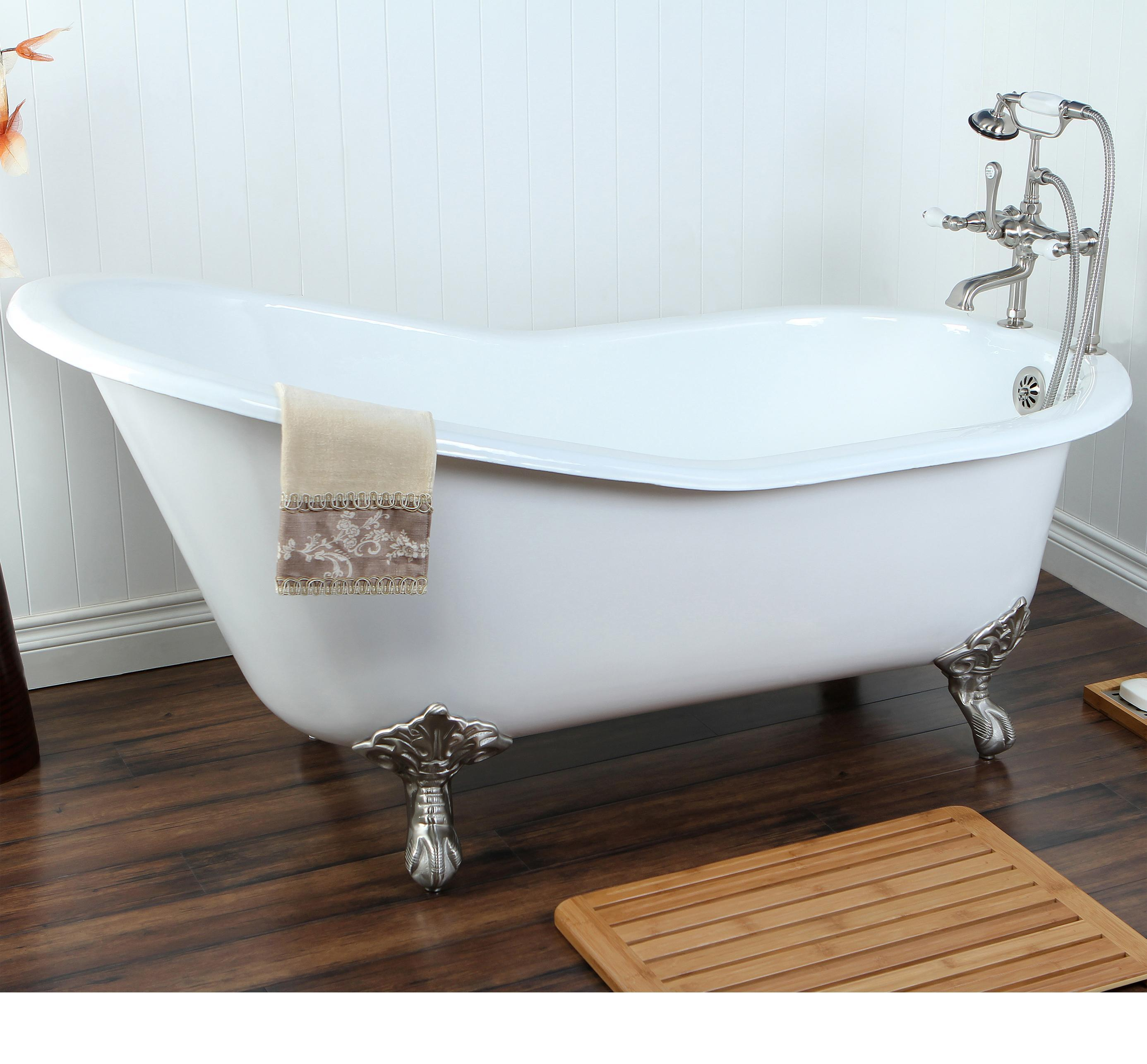 KINGSTON BRASS VCT3D543019NT5 54 Inch Cast Iron Roll Top Claw Foot Tub With 3