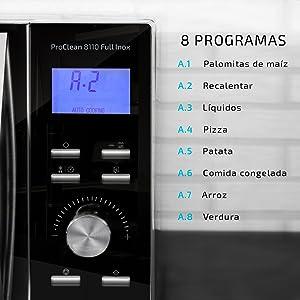 Cecotec Microondas con Grill ProClean 8110. Capacidad de 28l, Revestimiento Ready2Clean, 1000 W de Potencia, Grill 1000W, 5 Niveles Funcionamiento, 8 ...