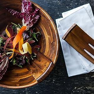 salad bowl, wood salad bowl, wooden salad bowl, salad tongs, salad bowl with tongs, serving bowl