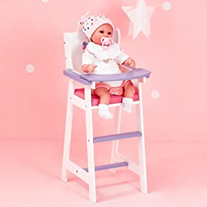 high chair. doll. baby doll. wooden