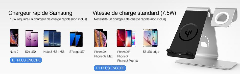 Chargeur /à Induction pour iphone 8//8 Plus//X Adaptateur Non Inclus Galaxy Note 8// S8//S8 Plus//S7Edge et Autre Qi Compatible Bestand Chargeur sans Fil Qi Chargeur 2 Bobines dinduction -Gris