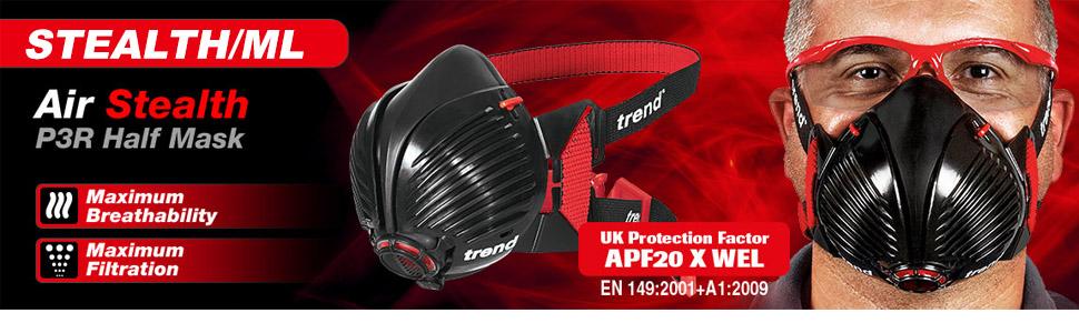 Pack de 2 Trend Air furtif de Sécurité Appareil Respiratoire Demi-masque Filtres Stealth//1