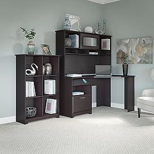 Amazoncom Cabot Corner Desk With Hutch And Cube Bookcase - Bush cabot corner computer desk