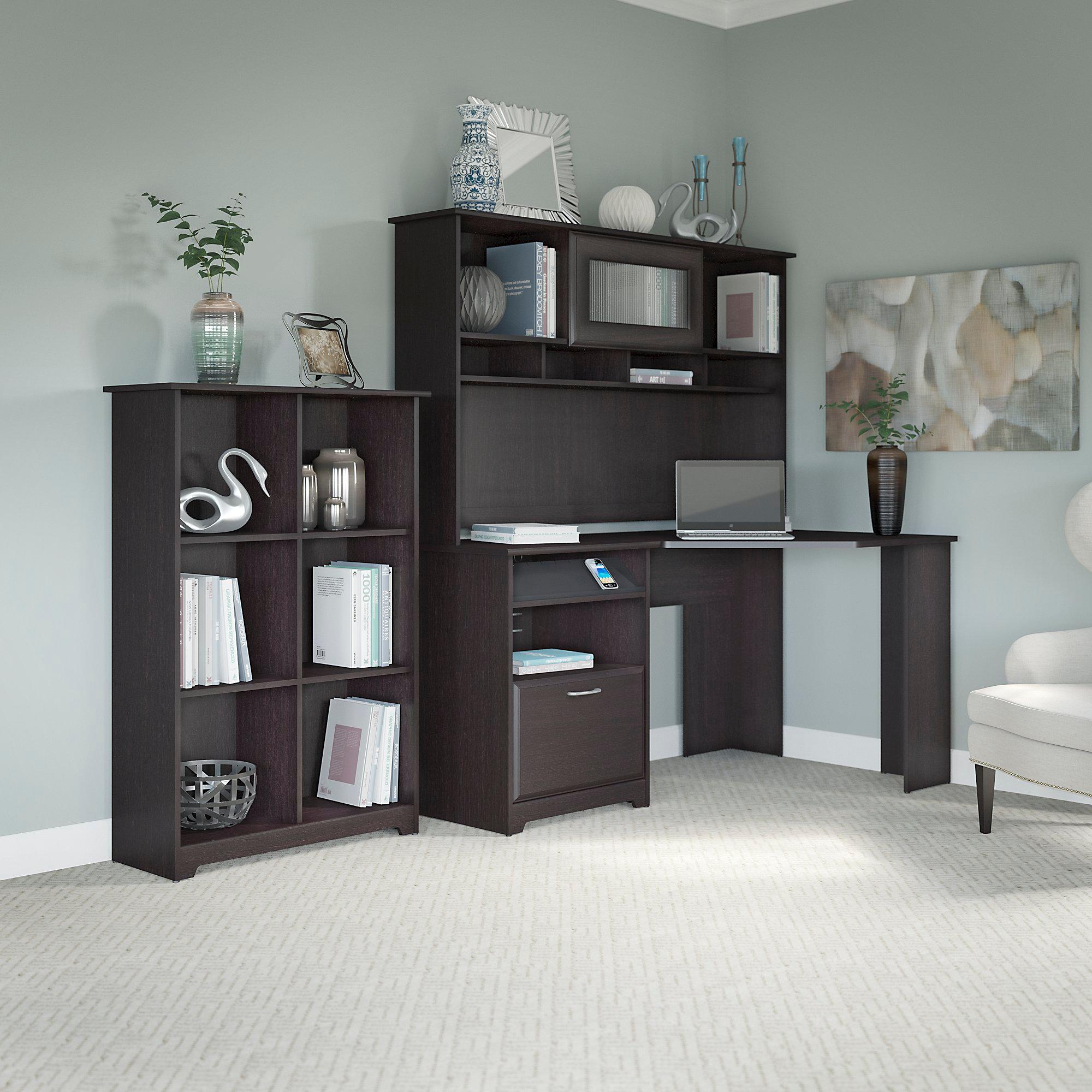 Corner Kitchen Desk Designs: Amazon.com: Cabot Corner Desk With Hutch And 6 Cube