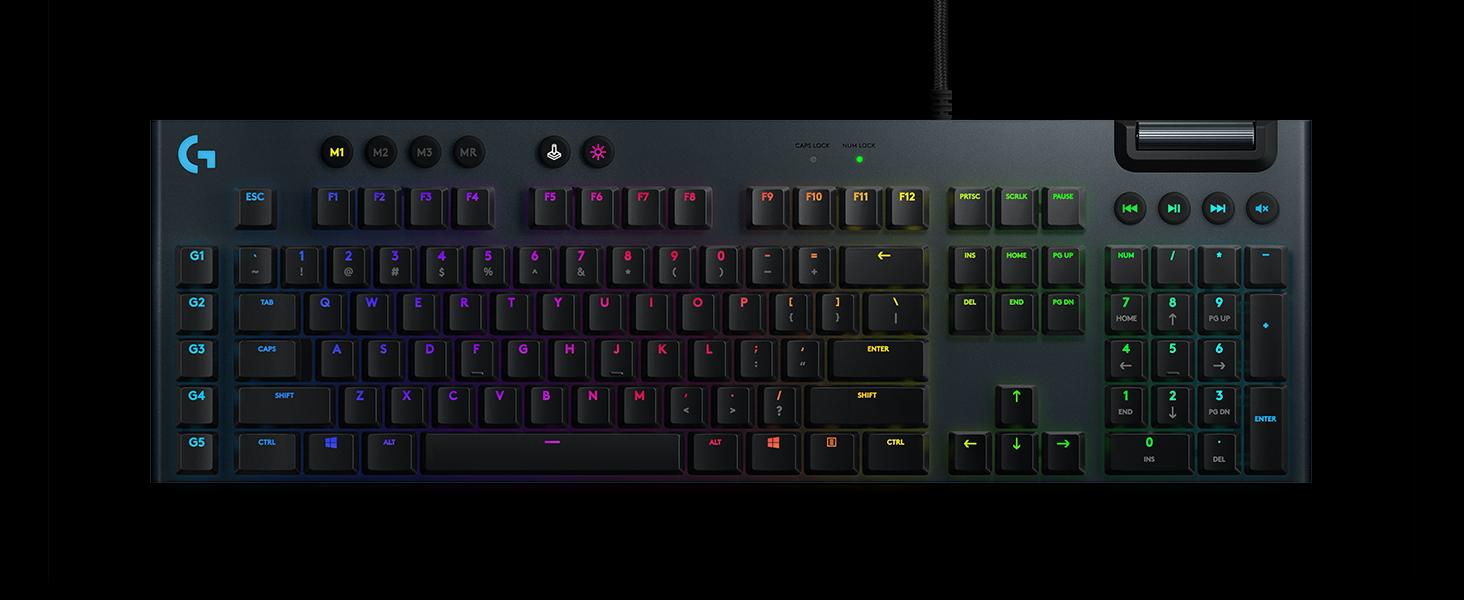 Logitech G815 Lightspeed RGB Clavier Mécanique Gaming, Switch tactile Low Profile Gl, 5 Touches Progammables G Keys, Tunnel USB, contrôle média dédié