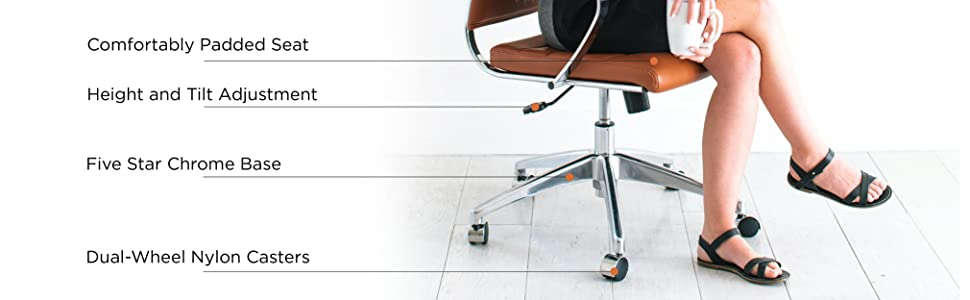 Eames, Faux Leather, Hon, AmazonBasics, Adjustable, Rolling, Colorful, Grey, Office, Chair, Armless