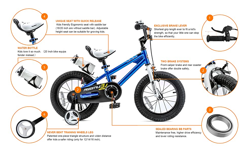 Kids Bike Unisex Boys Balance Bikes Children Cycling Blue//red Bicycle Stabiliser