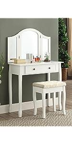 Ashley Wood Make Up Vanity Table And Stool Set, White · Sanlo White Wooden  Vanity, Make Up Table And Stool Set · Interhyp White Wooden Vanity, Make Up  Table ...