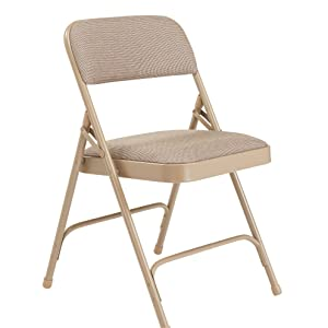 National Public Seating 2201 Series Steel Frame Upholstered Premium Fabric Seat and Back Folding Chair with Double Brace, 480 lbs Capacity, Cafe ...