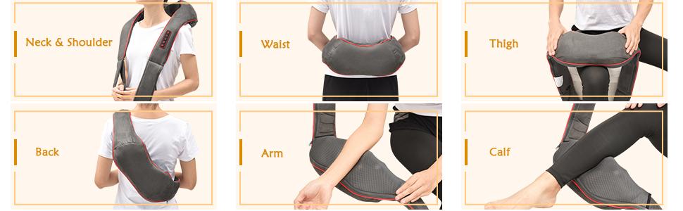 deep tissue shiatsu neck back shoulder massager with heat vibration