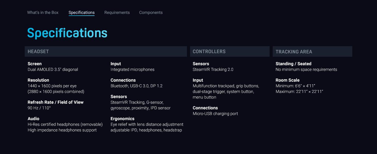 VIVE, VR, VIVE Pro, Starter Kit, Specs