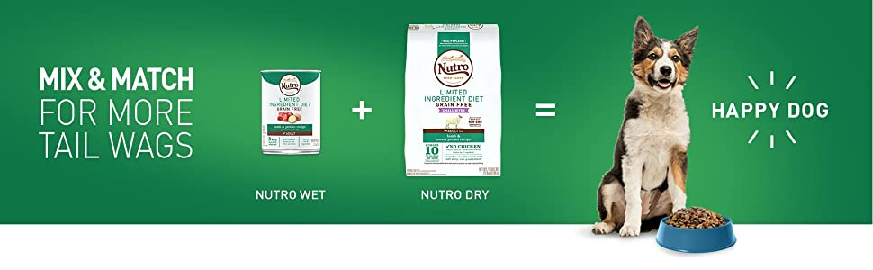 Nutritious; Delicious; For all Dogs; Puppy; Senior; Adult; Nutro Dry; Nutro Wet; Happy Dogs