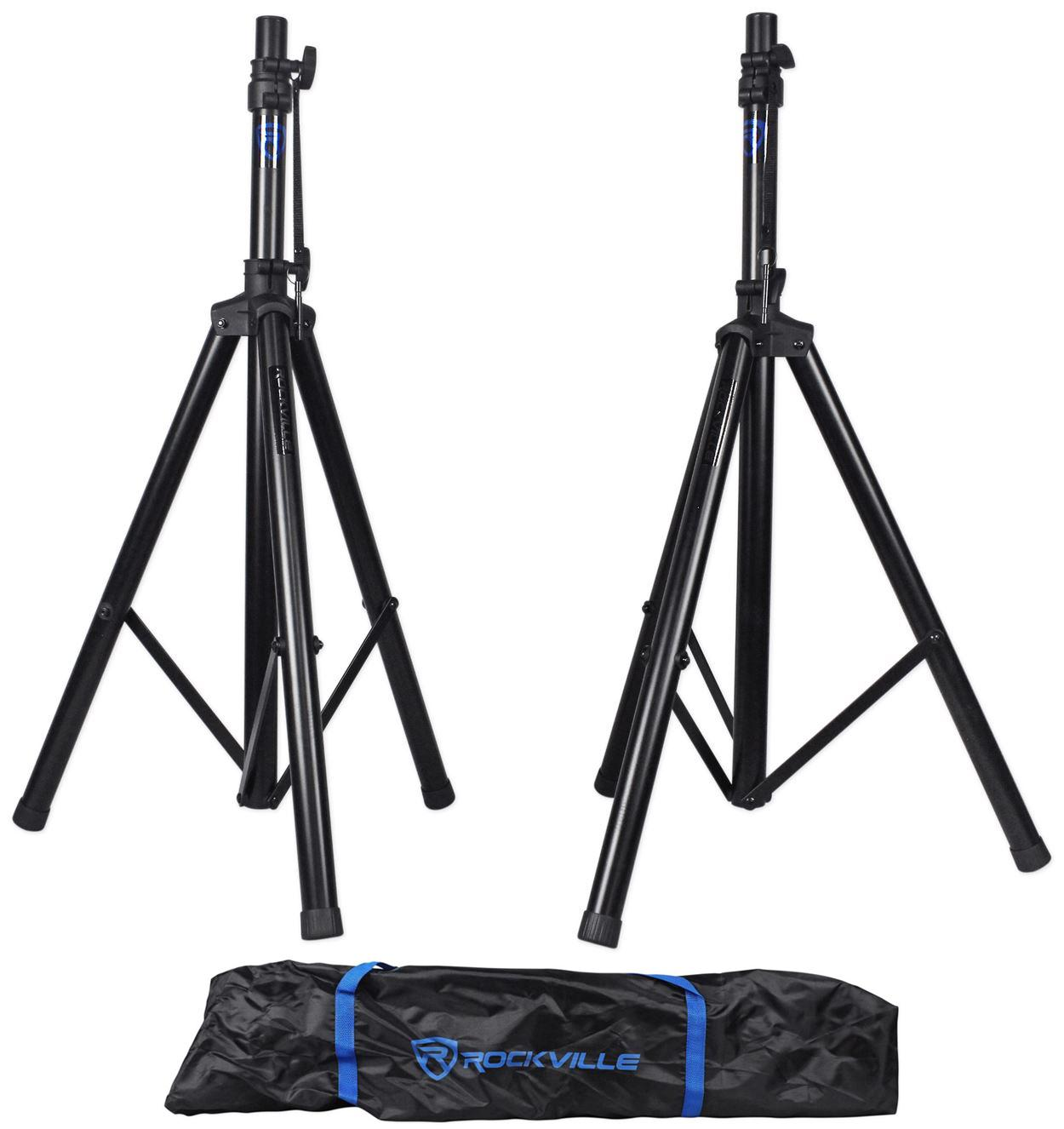 pair rockville rves1 adjustable tripod dj pa speaker stands carry bag universal. Black Bedroom Furniture Sets. Home Design Ideas