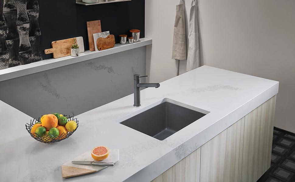 Blanco Metallic Gray 522413 Precis Silgranit Single Bowl Undermount Kitchen Sink Amazon Com