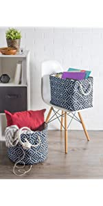 fabric basket, canvas laundry hamper, magazine basket, pantry organization, shoe bin for entryway