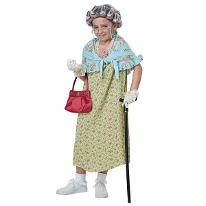 Clothing, Shoes & Accessories Old Lady Costume Kids Grandma Halloween Fancy Dress