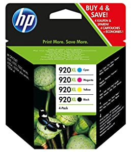 HP ,920XL ,4-pack ,High ,Yield ,Black/Cyan/Magenta/Yellow ,Original ,Ink ,Cartridges, C2N92AE