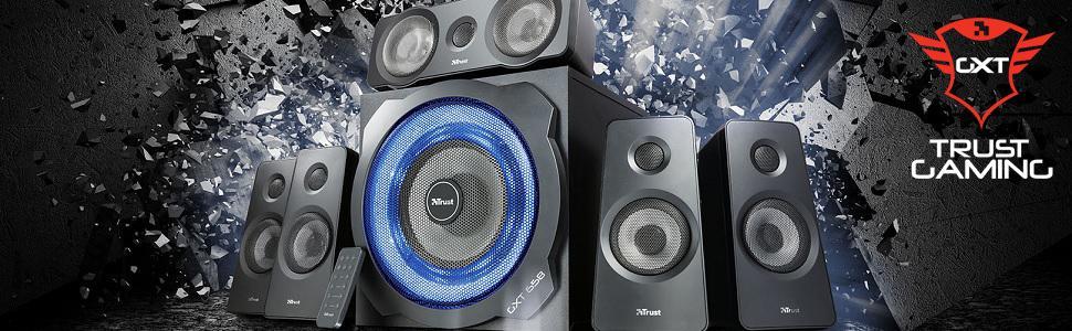 5.1 surround speaker system;speaker system;gaming speaker;trust speaker;pc speaker