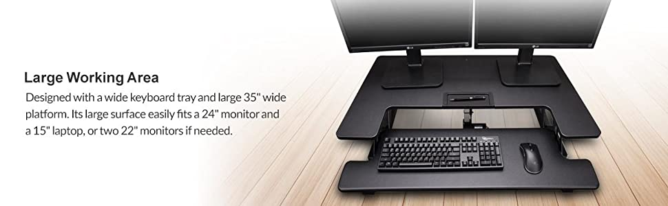 Rosewill Height Adjustable Sit/Stand Desk Computer Riser RDR10, Large work area