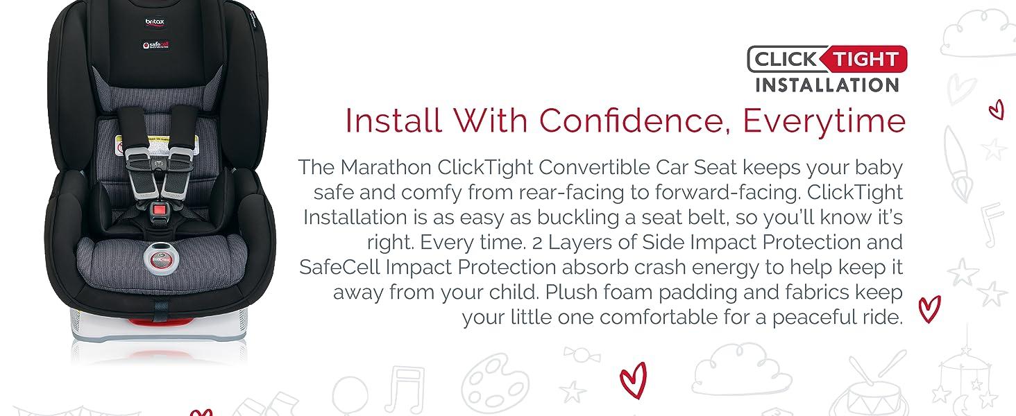 Britax Marathon Wave >> Britax Marathon Clicktight Convertible Car Seat 1 Layer Impact Protection Rear Forward Facing 5 To 65 Pounds Verve