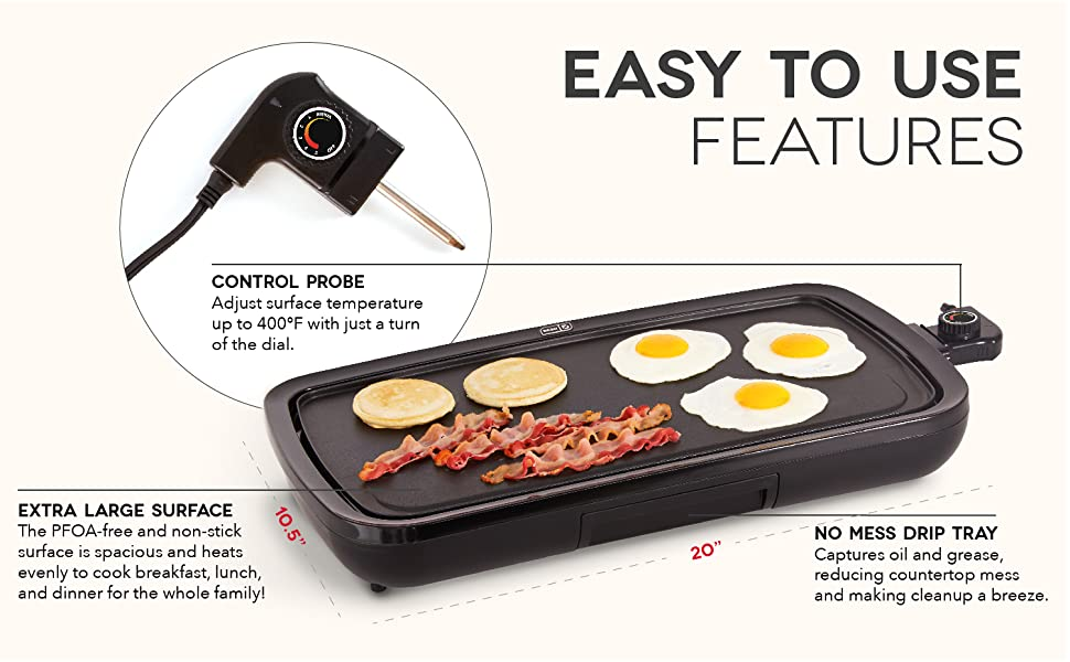 griddle, easy, nonstick, pfoa free, breakfast, lunch, dinner, meal, homemade